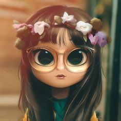 Cartoon, Portrait, Digital Art, Digital Drawing, Digital Painting, Character Design, Drawing, Big Eyes, Cute, Illustration, Art, Girl, Doll, Hair, Coachella, Flowers, Flower Crown