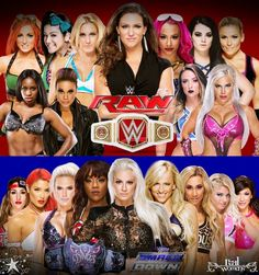 Becky Lynch Bayley Charlotte Stephanie McMahon Sasha Banks Paige Natalya Naomi Tamina Emma & Dana Brooke on Raw / Nikki Bella Eva Marie Lana Alicia Fox Maryse Summer Rae Carmella Alexa Bliss & Rosa Mendes on Smackdown Wwe Maryse, Womens Royal Rumble, Lilian Garcia, Wwe Outfits, Tamina Snuka, Rosa Mendes, Dana Brooke, Stephanie Mcmahon, Eva Marie