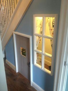 Children's den under the stairs. Much nicer than Potter's Children's den under the stairs. Much nicer than Potter's Under Stairs Playroom, Under Stairs Dog House, Under Stairs Playhouse, Stair Storage, Hidden Storage, Dog Rooms, Amazing Spaces, Incredible Kids, My New Room