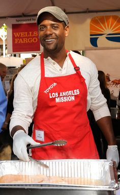 Blair Underwood from Celebrity Do-Gooders: Holiday Edition!  The actor was armed with a set of tongs and a big tray of turkey so he could help out this year!