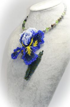 Blue and Green Necklace Flower Beaded Jasper Choker Floral Iris Necklace Bridal Wedding Fleur-de-lis Jewelry Artisan Jewelry Gifts for Mom Handmade Shop, Etsy Handmade, Handmade Gifts, Handmade Jewelry, Handmade Items, Valentines Gifts For Her, Valentines Jewelry, Gifts For Mom, Seed Bead Jewelry