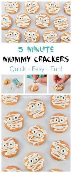 Mummy Ritz Crackers recipe - quick and easy fun Halloween food for kids - great Halloween party food from Eats Amazing UK #Halloween #kidsfood #funfood #partyfood #easyrecipe #foodart