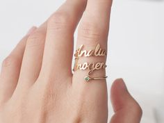 Double Name Ring with Birthstone  Custom Name Ring  Two