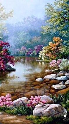 Good scenery, waterfalls, streams and rivers - Cshebao Fashionable women's home Beautiful Nature Wallpaper, Beautiful Paintings, Beautiful Landscapes, Beautiful Gardens, Fantasy Landscape, Landscape Art, Landscape Paintings, Fantasy Art, Nature Scenes