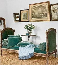 Masculine Bedroom, French Velvet Daybed.