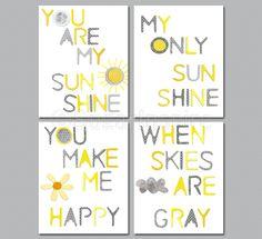 You are my sunshine Nursery Art Print Set, yellow and grey nursery, 8x10, Kids Room Decor, Baby/Children Wall Art - You Make Me Happy. $49.95, via Etsy.