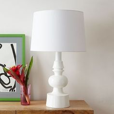 Turned Table Lamp #WestElm.  Would love to re-cover shade with chevron striped fabric - HH