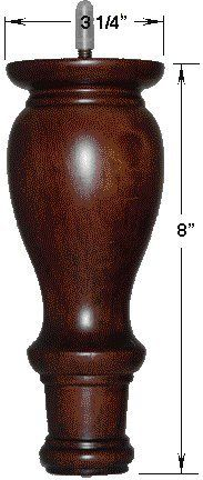 """(#CL713) 8"""" Brown Walnut Finish Ottoman/Couch/Sofa Wooden Legs - set of 4"""