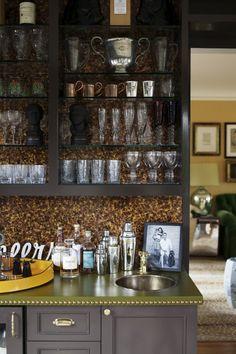 Butler's Pantry...green lethah countertop!