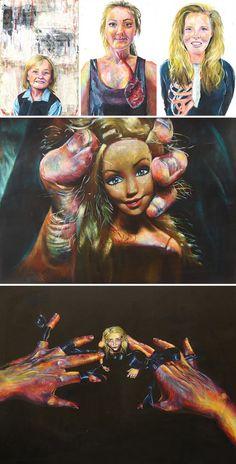 A Level Art porfolio exploring portraiture and dolls