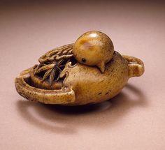 Ishikawa Rensai (Japan, born circa 1832)   Sparrow, mid- to late 19th century  Netsuke, Stag antler with inlays,