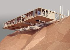 Expanded Field House by Building Studio Problems of traffic noise and security, with the desire to have unobstructed views drove the design out beyond the bluff achieved through six concrete beams. Conceptual Model Architecture, Art And Architecture, Model Building, Building A House, Alaska House, Haus Am Hang, Architectural Scale, Arch Model, Modelos 3d