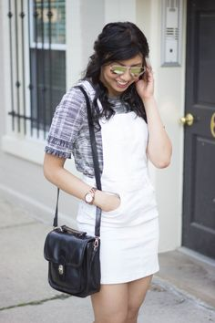 Frayed window pane top with white overall minidress // summer fashion, summer style