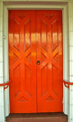 US Door & More Inc. is your discount supplier of exterior, entry, and interior doors. Discover a wide selection of pre-hung, bifold, fiberglass and wood doors. Cool Doors, Unique Doors, Door Knockers, Door Knobs, Orange Door, Orange Red, When One Door Closes, Windows And Doors, Red Doors