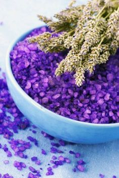 PURPLE WITCH SALT: In a Mortar and Pestle, blend together Sea Salt, Purple Herbs…