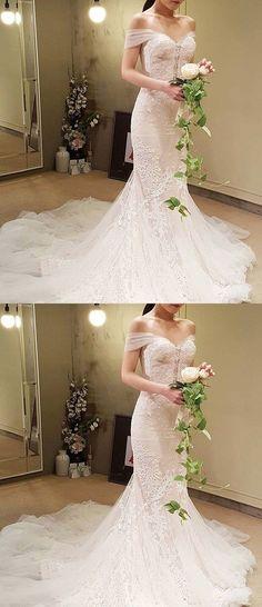 Elegant Mermaid Wedding Dress - Off the Shoulder Court Train Lace M1357 #laceweddingdresses