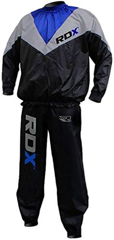 The RDX Weight loss Sauna Suit looks just like a high-fashion sweat suit on the outside but has a concealed unique EVA nylon material. Complete set includes long sleeve pullover top and pants. Rugg...