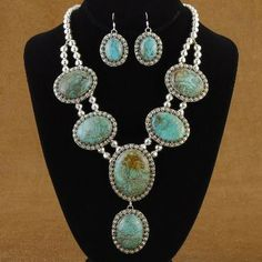 Turquoise and Silver Bench Bead Necklace - Alltribes
