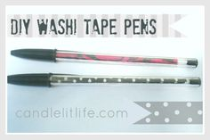 personalize the inside of a crystal bic pen with colorful craft tape, easy peasy and would make a cute gift