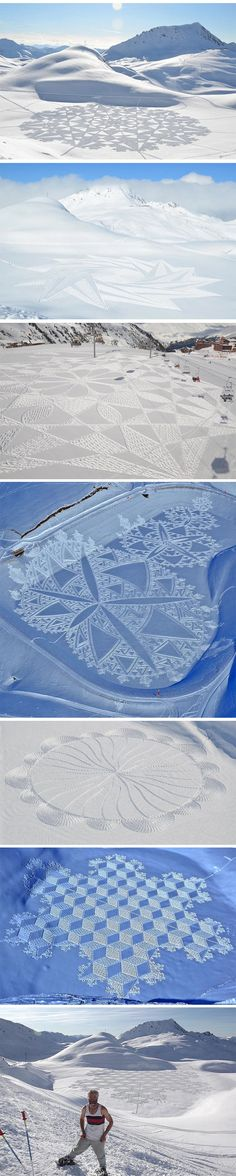 Massive snow patterns walked by artist…