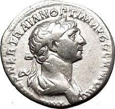 TRAJAN 116AD Authentic Ancient Silver Roman Coin Fortuna Luck Cult i53346