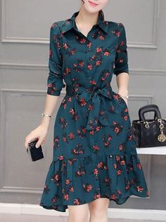 Plus Size Long Sleeve High Low Printed Dress with Belt Cute Dresses, Vintage Dresses, Beautiful Dresses, Casual Dresses, Maxi Dresses, Dress Shirts For Women, Clothes For Women, Modest Fashion, Fashion Dresses