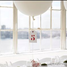 Image result for round white balloon table number