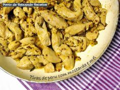 Strips of turkey with mustard and honey