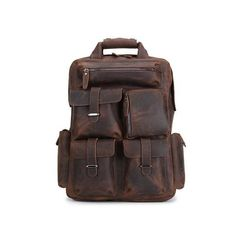 "ROCKCOW Handmade Vintage Leather Backpack, Travel Backpack, Leather Backpack B827 Model Number: B827 Dimensions:12.6""L x..."
