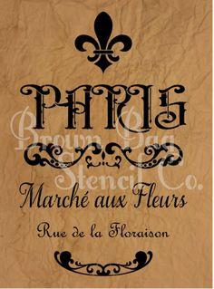 FRENCH STENCIL - French Stencil - PARIS Marche aux Fleurs - Paris Flower Market  Design Area 12 x 19