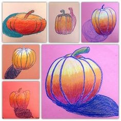 Fall or Thanksgiving art lesson // Drawing pumpkins using value and shading // fall art lesson // Special Ed, elementary // materials: construction paper and crayons (oil pastels are too messy)  // This lesson is a good step by step, drawing each shape and letting students follow your lead.
