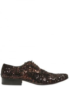 b2567d4bf9a Jacques Morgan Sequined Derby Laceup Shoes in Gold for Men (black) - Lyst  Lace