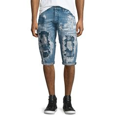 Prps Destroyed Bleach-Splatter Denim Shorts ($375) ❤ liked on Polyvore featuring men's fashion, men's clothing, men's shorts, blue, mens denim shorts, mens jean shorts, mens distressed denim shorts, mens slim fit shorts and mens cotton shorts