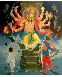Very cool - another picture of Lord Narasimha breaking out of the pillar to destroy evil.❤️☀️