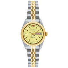 f9464365cc7 Relogio Feminino Prata Dourado Orient Fundo Dourado 21 Rubis