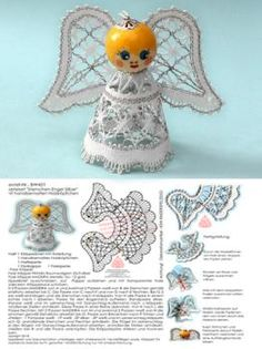 "421 Bastelset ""Sternchen-Engel"" mit handbemalten Holzköpfchen silber Christmas Angels, Christmas Crafts, Merry Christmas, Christmas Ornaments, Lacemaking, Bobbin Lace, Diy And Crafts, Teddy Bear, Fun"