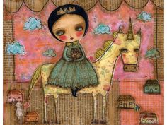Home Is Where My unicorn Is - Giclee Reproduction Of Original Mixed Media Painting By Danita Art (ACEO, Paper Print and Mounted On Wood)