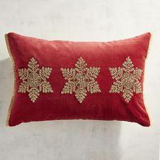 Κόκκινο βελούδο κεντημένες νιφάδες χιονιού Οσφυϊκή μαξιλάρι