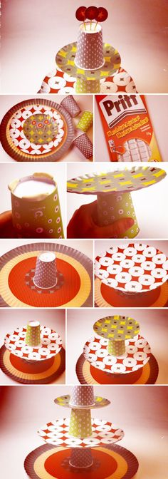 Paper plate tiers... Finger snacks would be perfect
