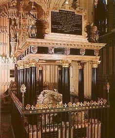 In 1612, James I moved his mother's tomb from Peterborough Cathedral and had her reburied opposite her cousin and arch-rival Elizabeth I in the Henry VIII chapel of Westminster Abbey. Next to Mary is the tomb of the Countess of Lennox, James' grandmother, with a kneeling figure of her son, Lord Darnley, James' father. This piece of extravagant irony, was more about a consolidation of James' image for posterity than respect for his estranged mother.