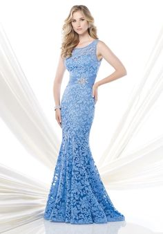 Sleeveless jersey and lace slim A-line gown with bandeau neckline, hand-beaded lace asymmetrically cut bodice, side gathered skirt, sweep train. Matching shawl included.