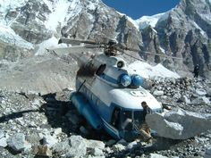 Post with 3055 views. Crashed Helicopter at Everest Bast Camp, Banner Images, Mountain Climbing, Top Of The World, Mountaineering, Fantasy Artwork, High Quality Images, Mount Everest, Abandoned, All About Time