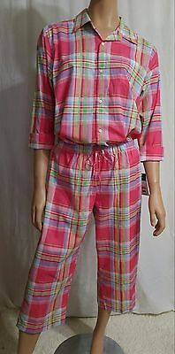 NWT Ralph Lauren 2pc PAJAMA SET 3/4 Sleeve TOP & CAPRI PANTS sz L ··· MSRP $69.