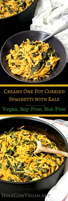 One Pot Curried Spaghetti with Kale. Vegan, soy-free and nut-free recipe - holycowvegan.net