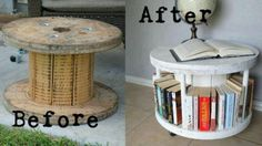 Coffee table from wire spool. Cool!