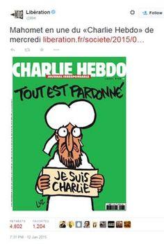 A capa da próxima edição do 'Charlie Hebdo' terá charge do profeta Maomé segurando placa com os dizeres 'Eu sou Charlie' (Foto: Reprodução/ Twitter/ Libertation) A capa da próxima edição do jornal ...