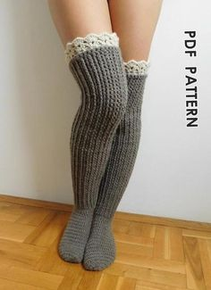 Knee high socks with lace tops | Craftsy