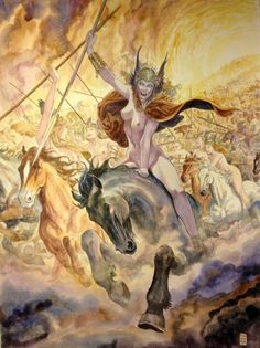 Valkyrie by Milo Manara ( run to them or from them, difficult decision !!!! ) Scandinavian, Birth Celebration, Original Art, Original Paintings, Dark Fantasy, Fantasy Art, Ride Of The Valkyries, Manara Comic, Werewolves