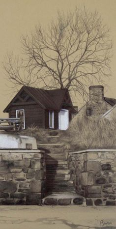 'The Old Ferryman's Hut,' black biro and white coloured pencil on brown paper, 16 x x Landscape Drawings, Landscape Art, Landscape Paintings, Landscapes, Great Paintings, Amazing Drawings, Contemporary Artwork, Paint Shop, Exterior Paint