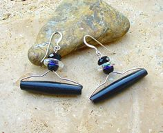 Black Bone and Faceted Crystal Ring Earrings - Accidently Hanger Inspired by KipajiPraiseJewelry on Etsy